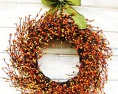 Fall Wreath-Fall Decor-Autumn Wreath-ORANGE & YELLOW Berry Wreath-Fall Door Decor-Thanksgiving Wreath-Holiday Decor-Choose Scent and Ribbon