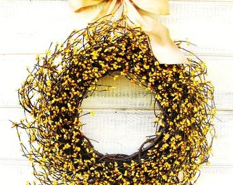 Fall Door Wreath-Autumn Wedding-Fall Wreath-YELLOW BERRY Wreath-Housewarming Gift-Rustic Country Home Decor-Gift for Mom-Wedding Gift