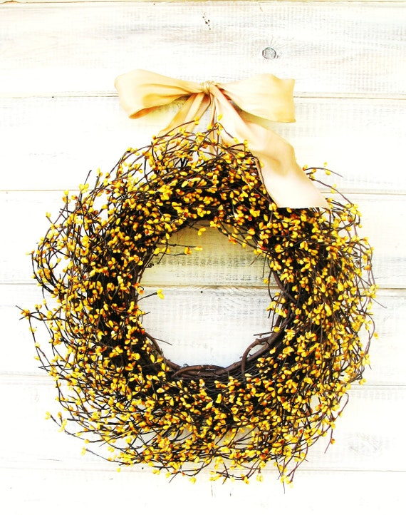 Fall Door Wreath-Autumn Wedding-Fall Wreath-YELLOW BERRY Wreath-Housewarming Gift-Rustic Country Home Decor-Gift for Mom-Wedding Gift