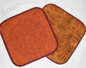 Burnt Orange Quilted Lap Labyrinth, with brown or gold thread