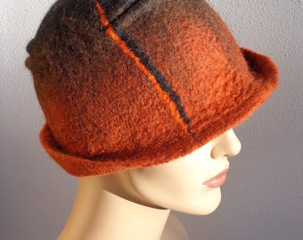 Assymetrical retro hat, brown and black felt cloche, 1920s inspired hat, art deco fashion, 20s accessory, winter hat
