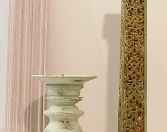 Turquoise Candle Holders Vintage Shabby Chic Chippy Candlestick   Aqua Set of 2