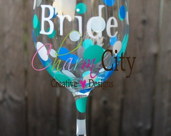 Personalized Bride Wine Glass 20 oz