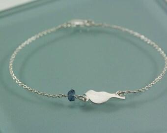 Bird and Tiny Glass Bead Sterling Silver Bracelet