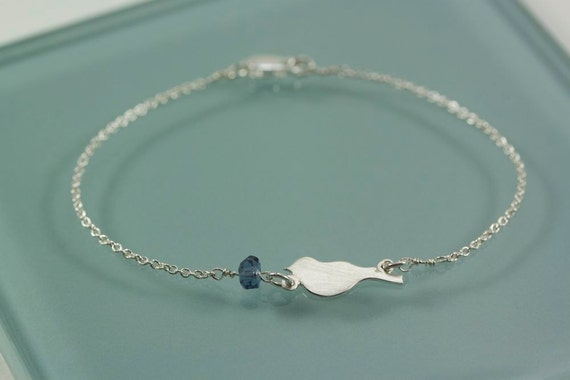 Bird and Tiny Glass Bead Sterling Silver Bracelet