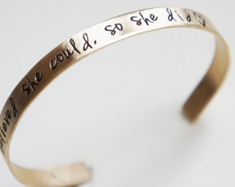 Gold Cuff Bracelet Personalized Brass Bangle Hand Stamped Lyrics Quote Jewelry