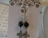 Black Czech Beaded Silver Cross Handmade Earrings Faceted Beads
