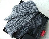 Men's Winter Wool Scarf in Dark Charcoal Gray Hand Knit Thick and Chunky (Made to Order)