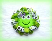Boutique Style Loopy Ribbon Flower Hair Clip - Green Frog Loopy Hair Bow - Hand Sewn - Green and Argyle