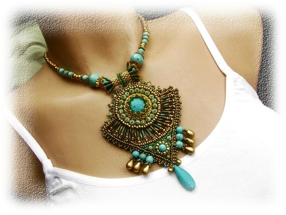 Bead embroidered necklace - Egypt - green, gold, turquoise - pharaoh's treasury - OOAK