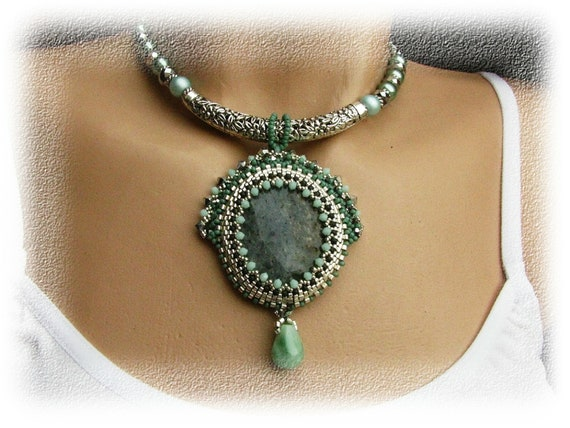 Beaded necklace - agate - beadwork - silver, green, dark turquoise, mint