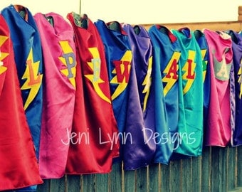 Personalized Super Hero Cape with Lightning Bolt and Child's Initial - Two colors