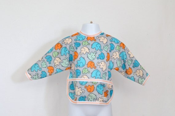 Shirt Saver Full Coverage Baby Bib With Long Sleeves and Pocket - Elephants