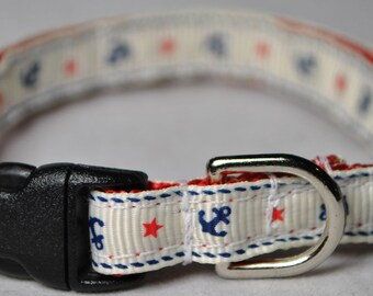 """Anchors and Stars - 3/8"""" Adjustable Cat Collar"""