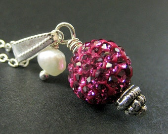 Hot Pink Kissing Ball Necklace. Hot PinK Necklace Rhinestone Necklace with Fresh Water Pearl. Handmade Jewelry.