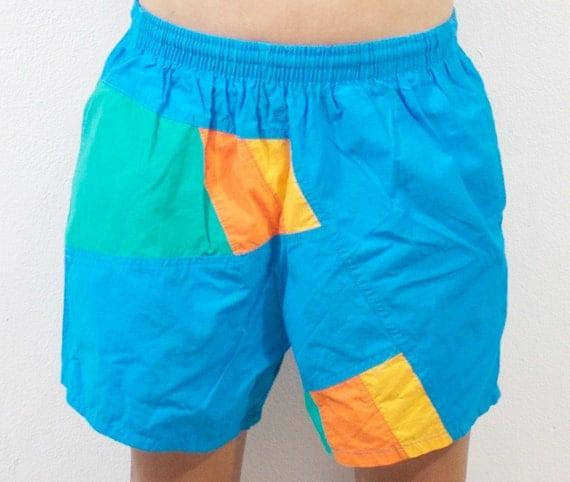 Vintage Retro Color Blocked Shorts