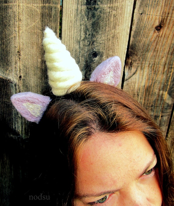 Purple unicorn headband ears and horn photo prop needle felted MADE to ORDER