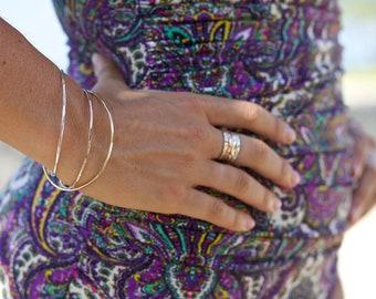 Neapolitan Bangle Bracelet Set--Gold Filled, Rose Gold Filled, and Sterling Silver