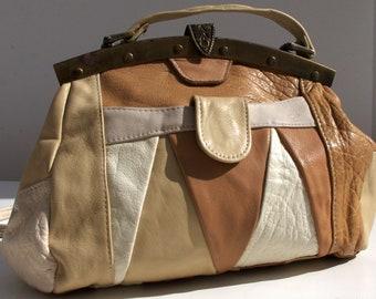 Beige Vintage Purse, Brown, Cream and Beige Handbag, Leather Shoulder Bag