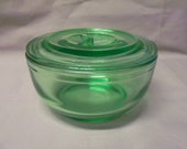 Vintage Anchor Hocking Green Depression Glass Round Leftover Bowl w/Lid