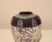 Reserved for Amy..Raku carved vase