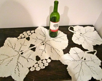 Large grape leaf doilies hand crocheted antique dresser scarf