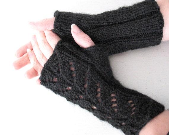 Knit Fingerless Gloves Arm Warmers Black 8 mittens Soft