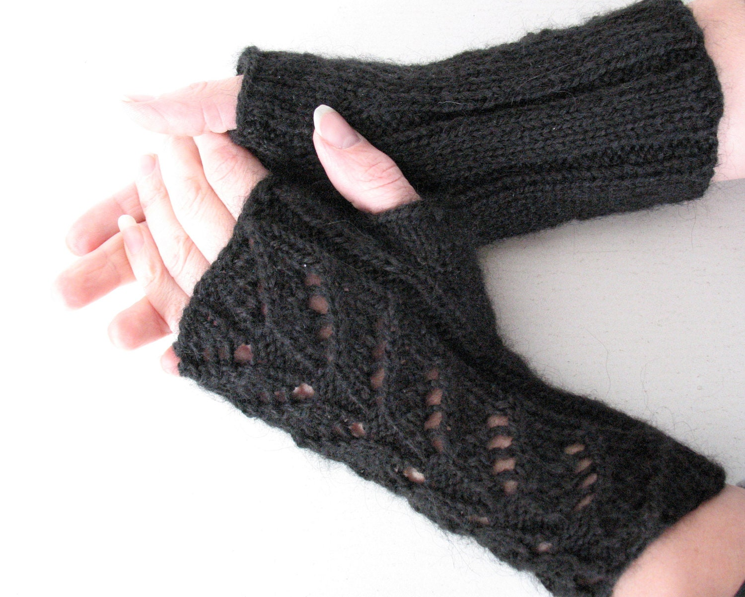 Knit Fingerless Gloves Arm Warmers Black 8 mittens by Initasworks