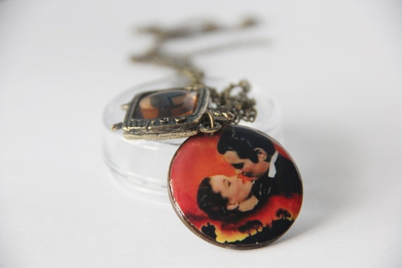 Gone with the Wind pendant w/ quote-- TV charm and chain included