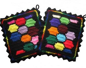 Colorful Potholders. Bright colors honeycomb pot holder set. Geometric crochet