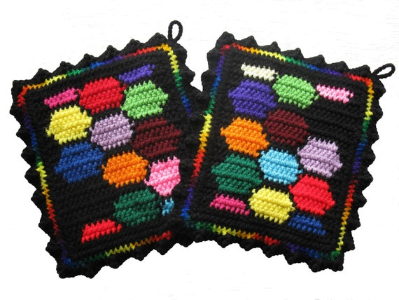 Colorful Potholders. Bright colors honeycomb pot holder set. Geometric crochet