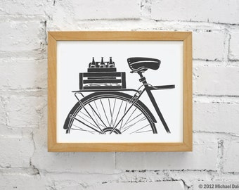 Bike Art with Beer - Black and White Art