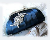 wedding clutch, bridesmaid clutch, maid of honor clutch, bridesmaid evening bag, Navy blue clutch, crystal clutch
