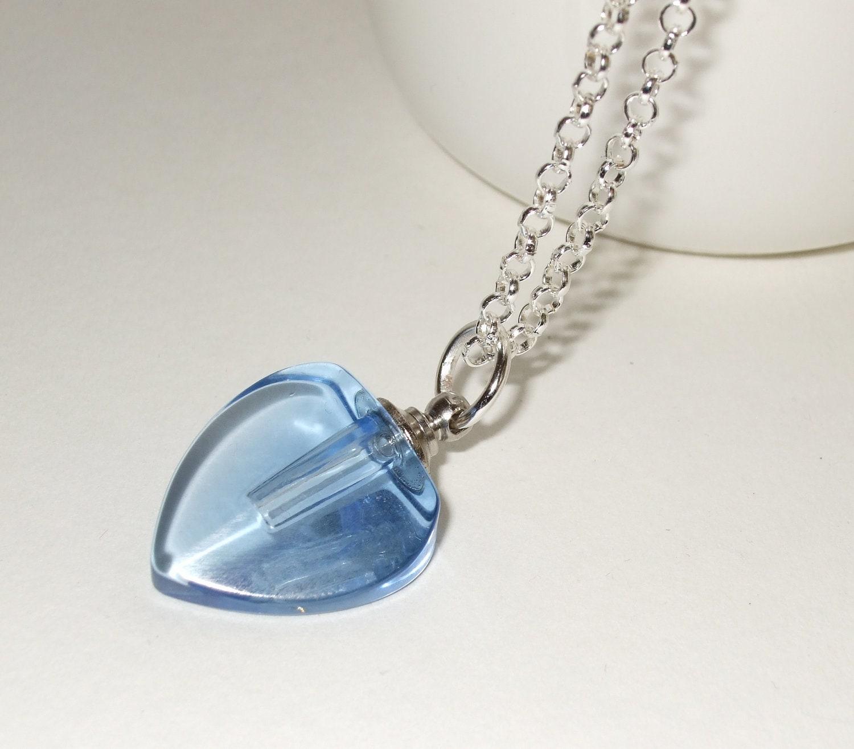 perfume bottle necklace glass vial pendant blue glass