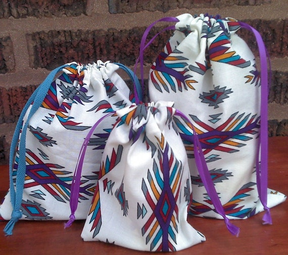 3 Fabric Gift Bags Southwest Print Upcycled Reusable