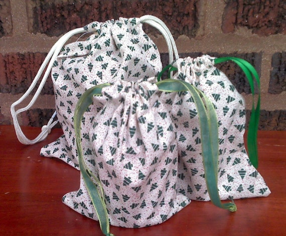 3 Christmas Tree Drawstring Gift Bag Upcycled
