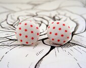 Red & White Dots Fabric Button Earrings
