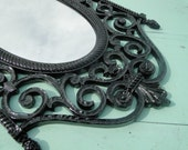 """Ornate Vintage Black Mirror Gothic French Country wall oval mirror in Black Wrought Iron Look """"Satin Goth"""""""