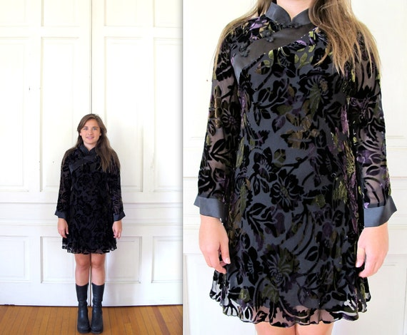 Vtg 90s Asian Inspired Silk Tunic Dress / Sheer Velvet Floral Print Mini Dress