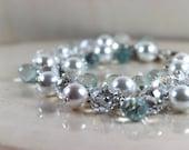 Bridal Beaded Bracelet, Pearl Bracelet, Cluster Bracelet, Pearl Jewelry, Wedding Bracelet, Bridal Party Jewelry