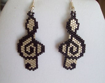 Native American Style Beaded Musical Note Black and Silver Southwestern, Boho, Brick Stitch, Peyote, Hippie, Gypsy, Great Gift