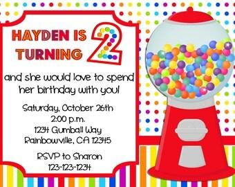 Rainbow Gumball Birthday Invitation Print Your Own 5x7 or 4x6