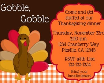 Thanksgiving Dinner Invitation Print Your Own 5x7 or 4x6