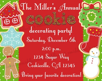 Christmas Cookie Decorating Party Invitation Print Your Own 5x7 or 4x6