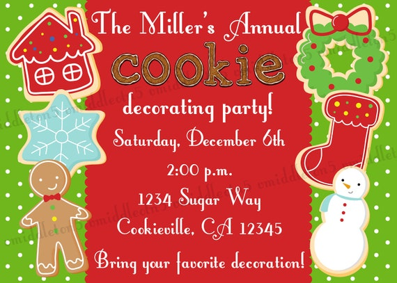 Items similar to Christmas Cookie Decorating Party Invitation – Cookie Decorating Party Invitations