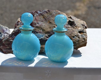 Vintage Avon Blue Opalescent Bottles