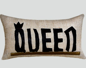 """Burlap Beige Decorative textured Lumbar pillow case with Leather word """"QUEEN"""" accent, fits12""""x20"""" insert, great gift."""