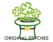 St Patrick's Day Four Leaf Clover Garden Applique and Machine Embroidery Digital Design File 4x4 5x7 6x10 7x11 8x12