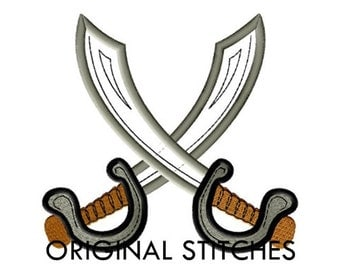 Pirate Swords Applique and Machine Embroidery Digital Design File 4x4 5x7 6x10 7x11