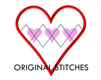 Argyle Heart Valentine's Day Applique and Embroidery Digital Design File 4x4 5x7 6x10